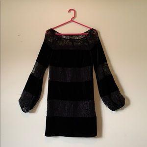 Black Velvet and Lace Laundry Dress